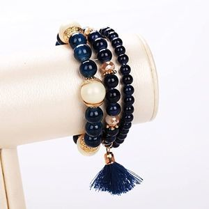 3 Piece Blue Bead Bracelet Set Lot Charm Tassel